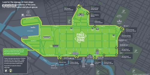 墨爾本市區內免費電車區域範圍地圖