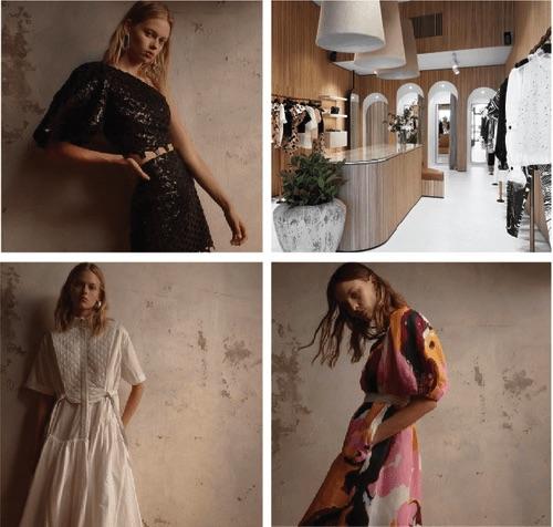 Aje服飾品牌的店面和黑色套裝、白色連身洋裝