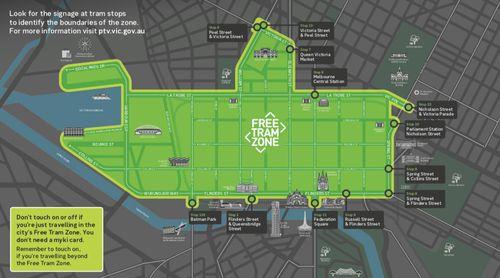 墨爾本市區免費電車區域地圖